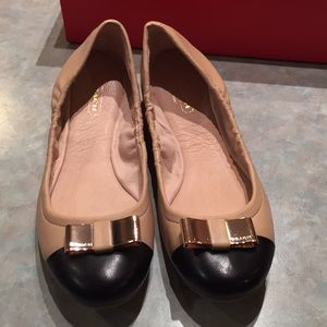 Coach tan and black leather flats